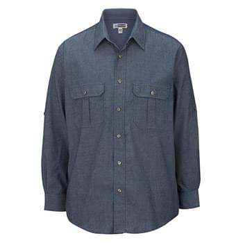 M Ls Chambray Roll Up Sleeve Shirt