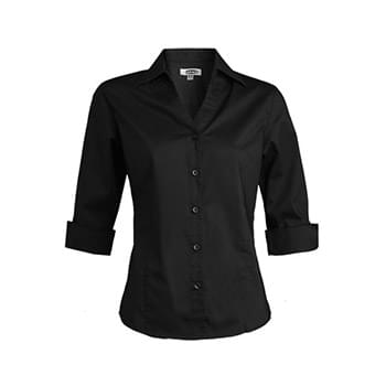 V-Neck Tailored Stretch Broadcloth Blouse 3/4 Slv