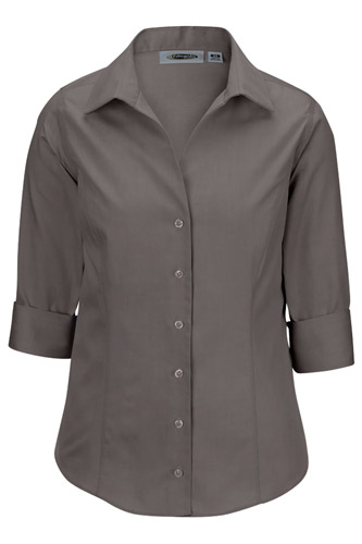 No-Iron Pinpoint Dress Shirt 3/4 Sleeve - Ladies
